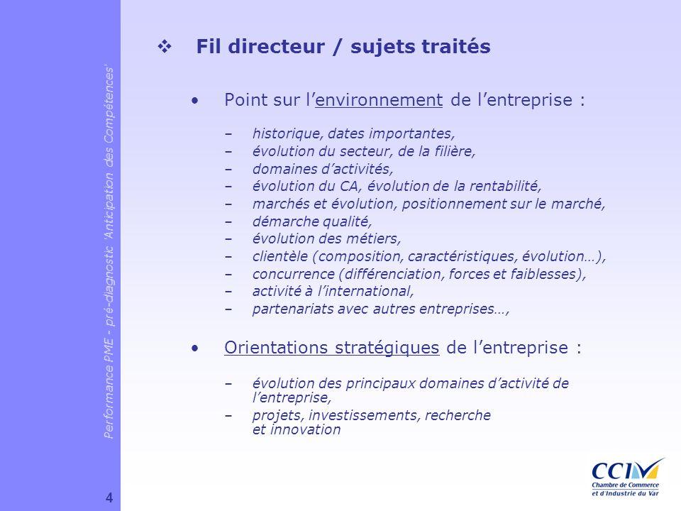 Fil directeur / sujets traités Point sur lenvironnement de lentreprise : –historique, dates importantes, –évolution du secteur, de la filière, –domain