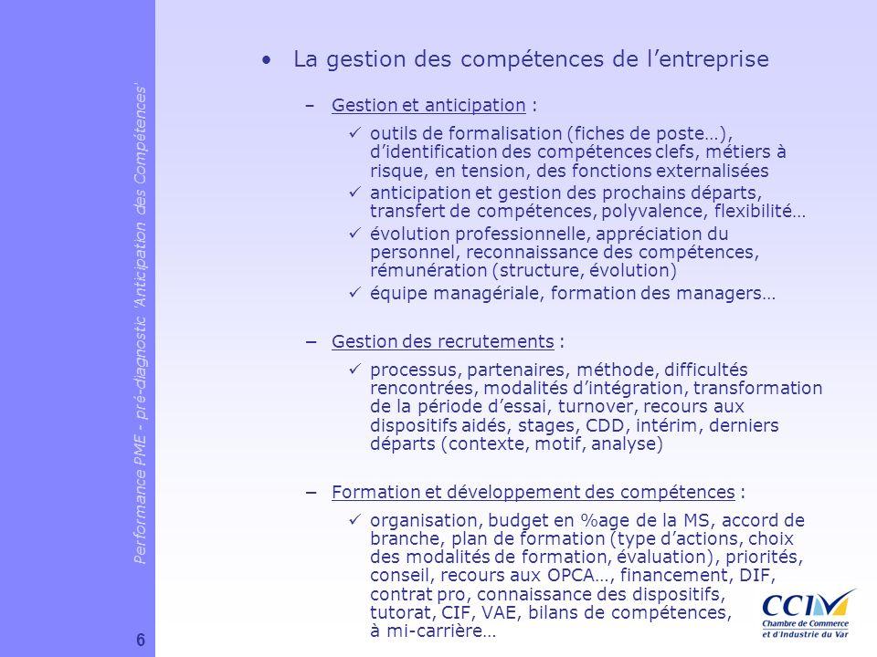 La gestion des compétences de lentreprise –Gestion et anticipation : outils de formalisation (fiches de poste…), didentification des compétences clefs