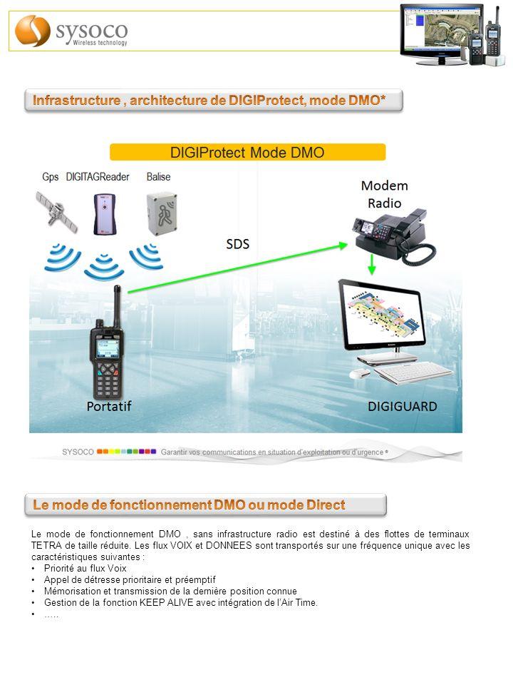 Le mode de fonctionnement DMO, sans infrastructure radio est destiné à des flottes de terminaux TETRA de taille réduite. Les flux VOIX et DONNEES sont