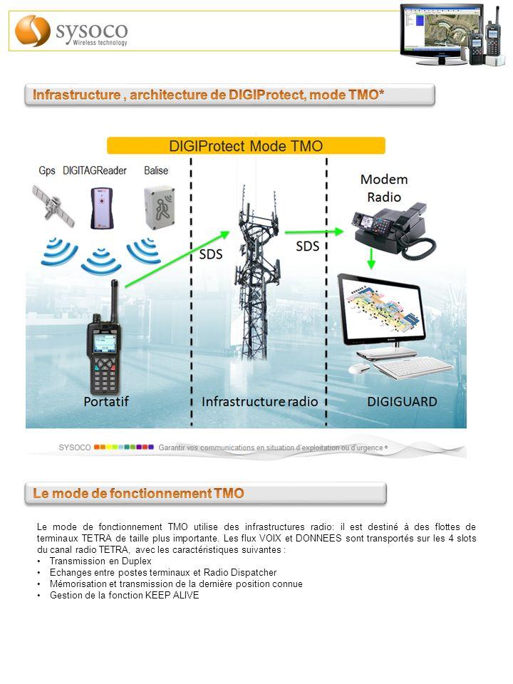 Le mode de fonctionnement TMO utilise des infrastructures radio: il est destiné à des flottes de terminaux TETRA de taille plus importante. Les flux V