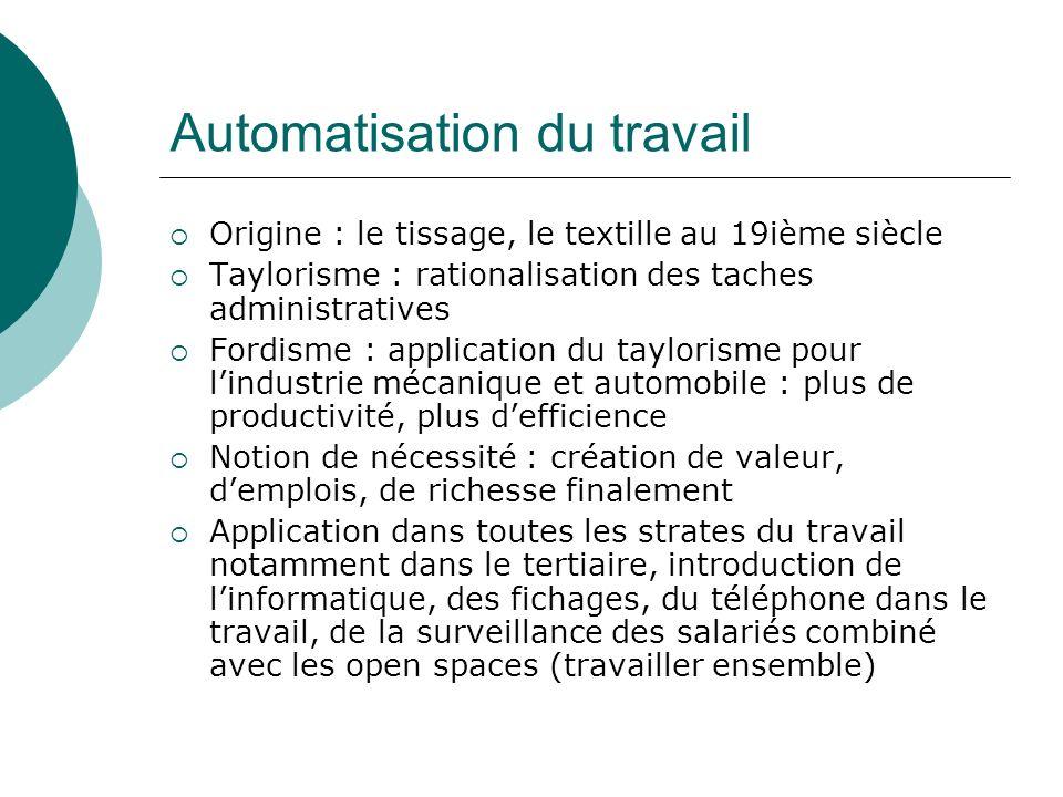 Automatisation du travail Origine : le tissage, le textille au 19ième siècle Taylorisme : rationalisation des taches administratives Fordisme : applic