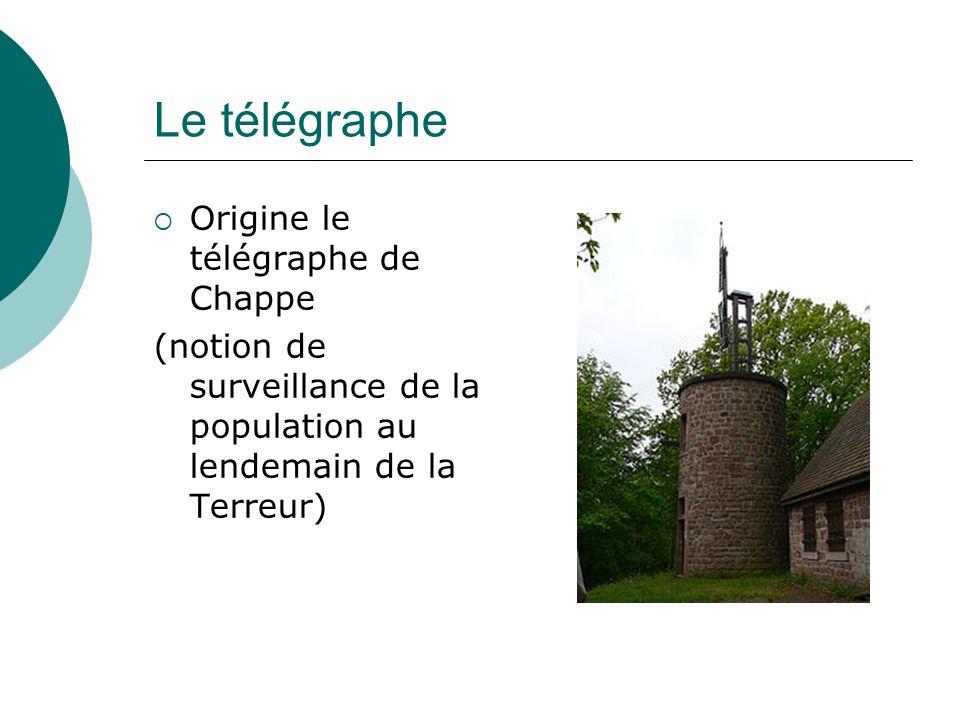 Le télégraphe Origine le télégraphe de Chappe (notion de surveillance de la population au lendemain de la Terreur)
