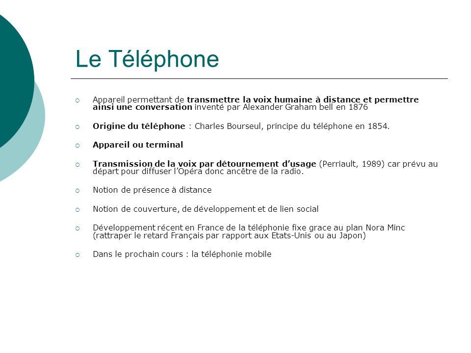 Le Téléphone Appareil permettant de transmettre la voix humaine à distance et permettre ainsi une conversation inventé par Alexander Graham bell en 18