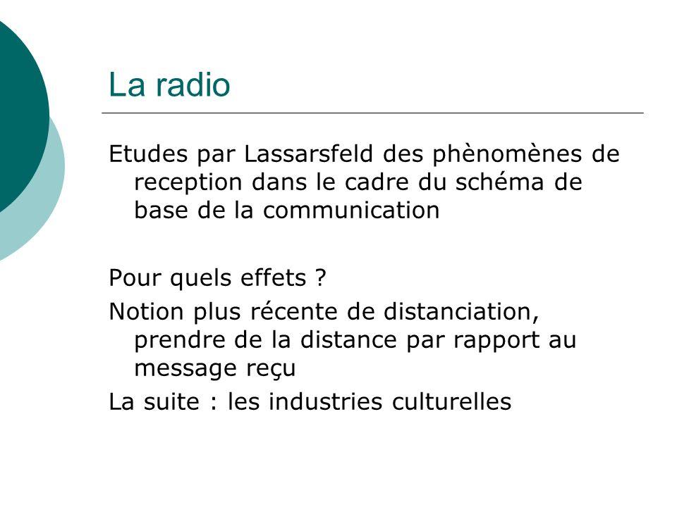 La radio Etudes par Lassarsfeld des phènomènes de reception dans le cadre du schéma de base de la communication Pour quels effets ? Notion plus récent
