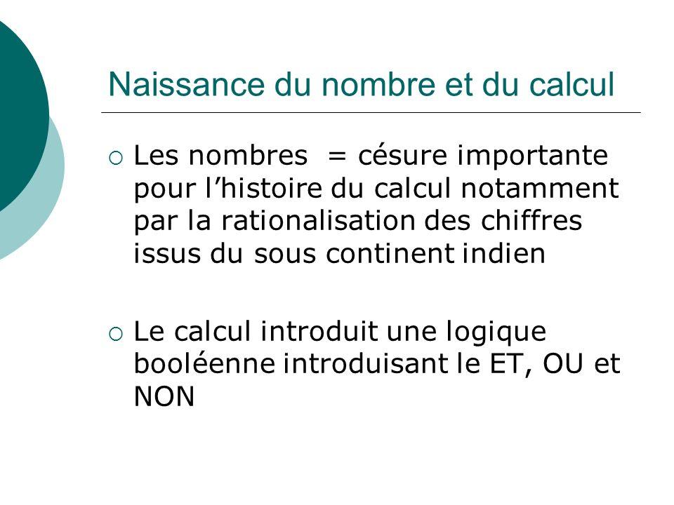 Naissance du nombre et du calcul Les nombres = césure importante pour lhistoire du calcul notamment par la rationalisation des chiffres issus du sous