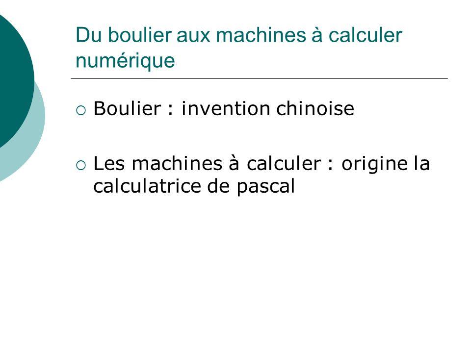 Du boulier aux machines à calculer numérique Boulier : invention chinoise Les machines à calculer : origine la calculatrice de pascal