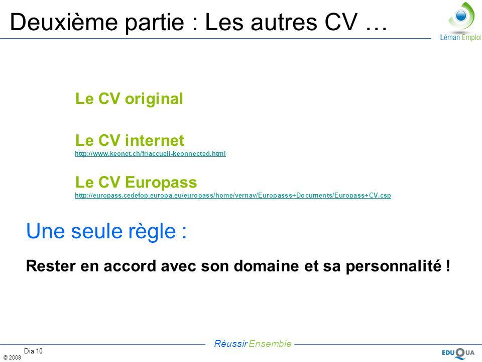 Réussir Ensemble © 2008 Dia 10 Deuxième partie : Les autres CV … Le CV original Le CV internet http://www.keonet.ch/fr/accueil-keonnected.html Une seu