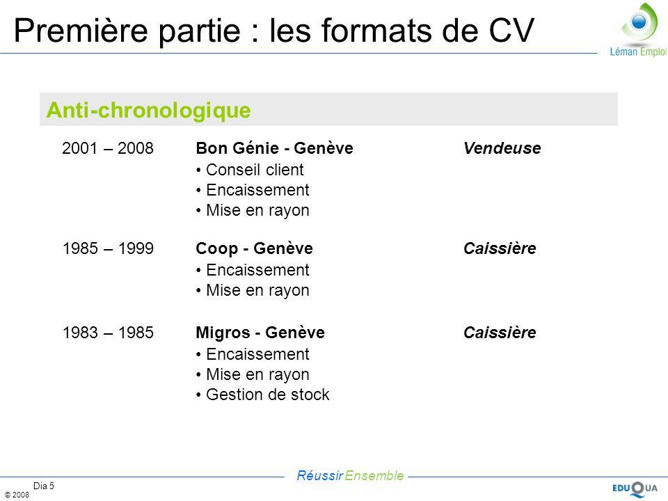 Réussir Ensemble © 2008 Dia 5 Première partie : les formats de CV Anti-chronologique 2001 – 2008Bon Génie - GenèveVendeuse Conseil client Encaissement