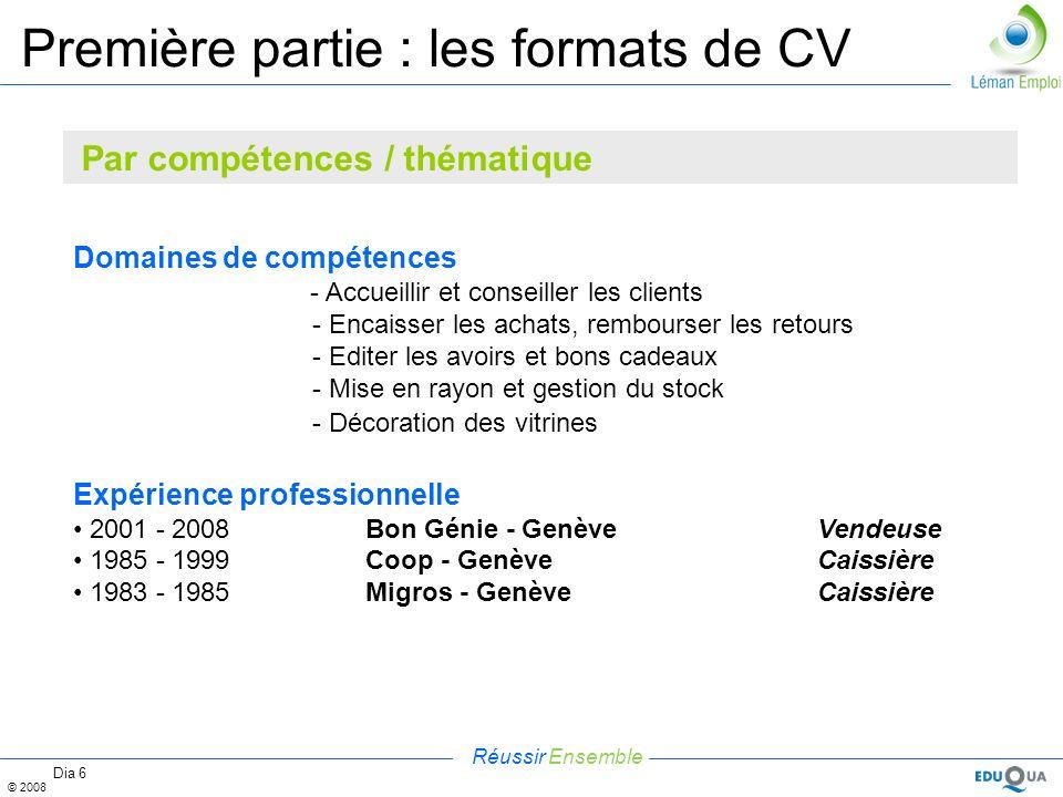 Réussir Ensemble © 2008 Dia 6 Première partie : les formats de CV Domaines de compétences - Accueillir et conseiller les clients - Encaisser les achat