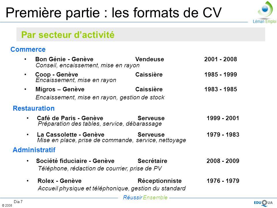 Réussir Ensemble © 2008 Dia 7 Première partie : les formats de CV Commerce Bon Génie - Genève Vendeuse2001 - 2008 Conseil, encaissement, mise en rayon