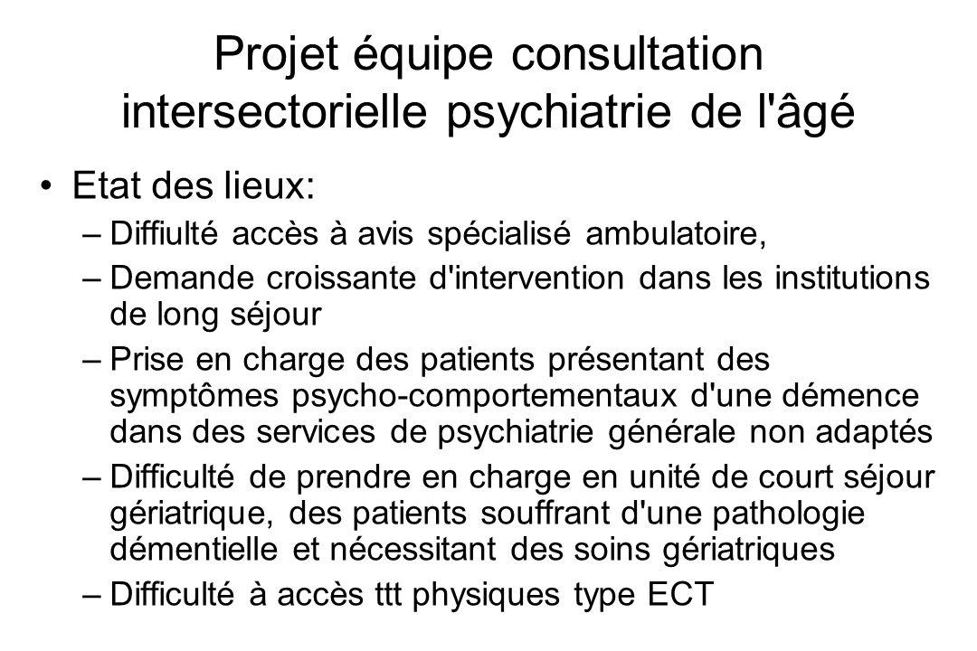 Projet équipe consultation intersectorielle psychiatrie de l'âgé Etat des lieux: –Diffiulté accès à avis spécialisé ambulatoire, –Demande croissante d