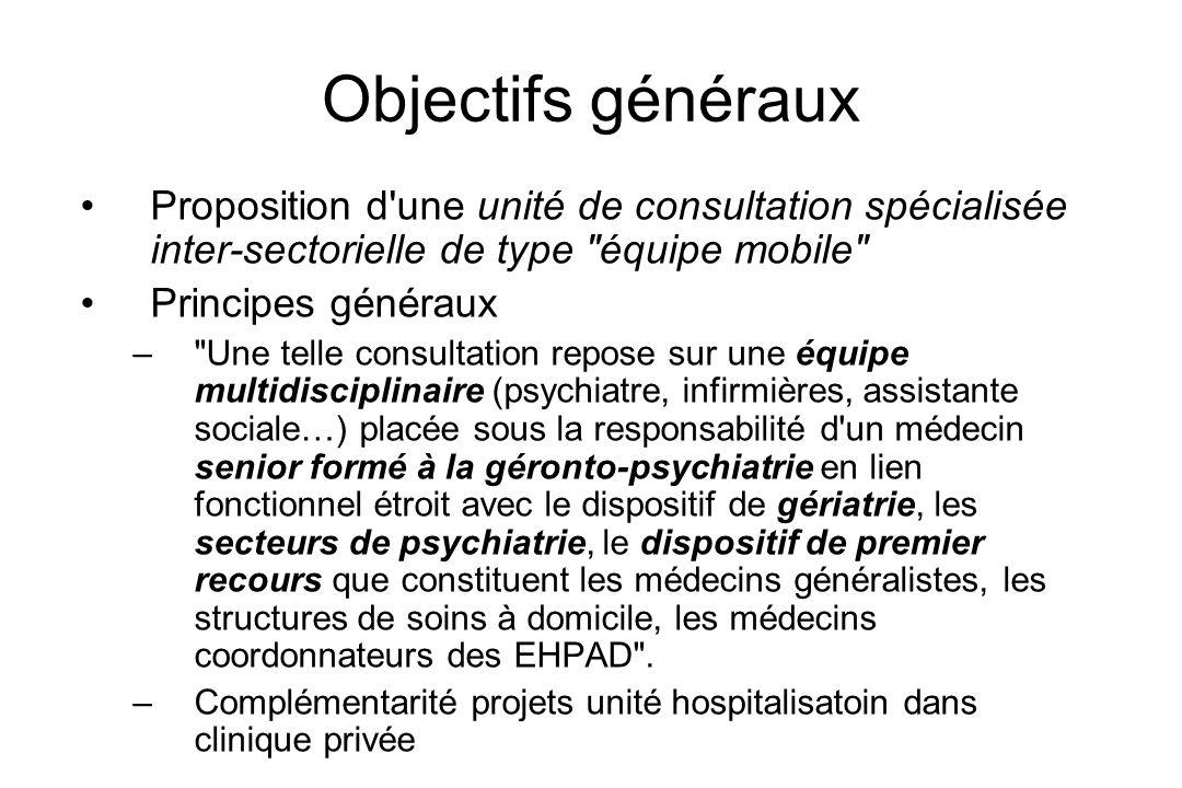 Objectifs généraux Proposition d'une unité de consultation spécialisée inter-sectorielle de type