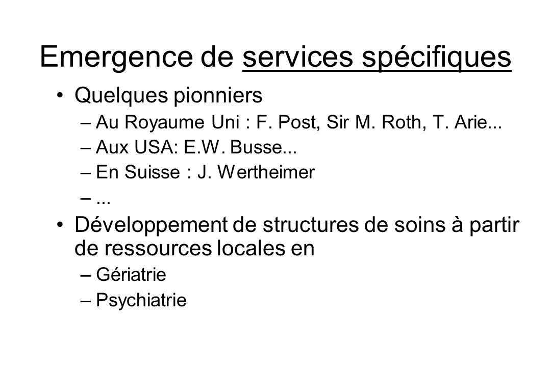 Emergence de services spécifiques Quelques pionniers –Au Royaume Uni : F. Post, Sir M. Roth, T. Arie... –Aux USA: E.W. Busse... –En Suisse : J. Werthe