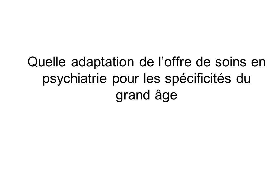 Prendre en compte le vieillissement Spécificités cliniques Pathologies –Tardives –Vieillies Adaptation des stratégies de soins au double choc démographique –Vieillissement de la population en général –Vieillissement de la population des psychiatres