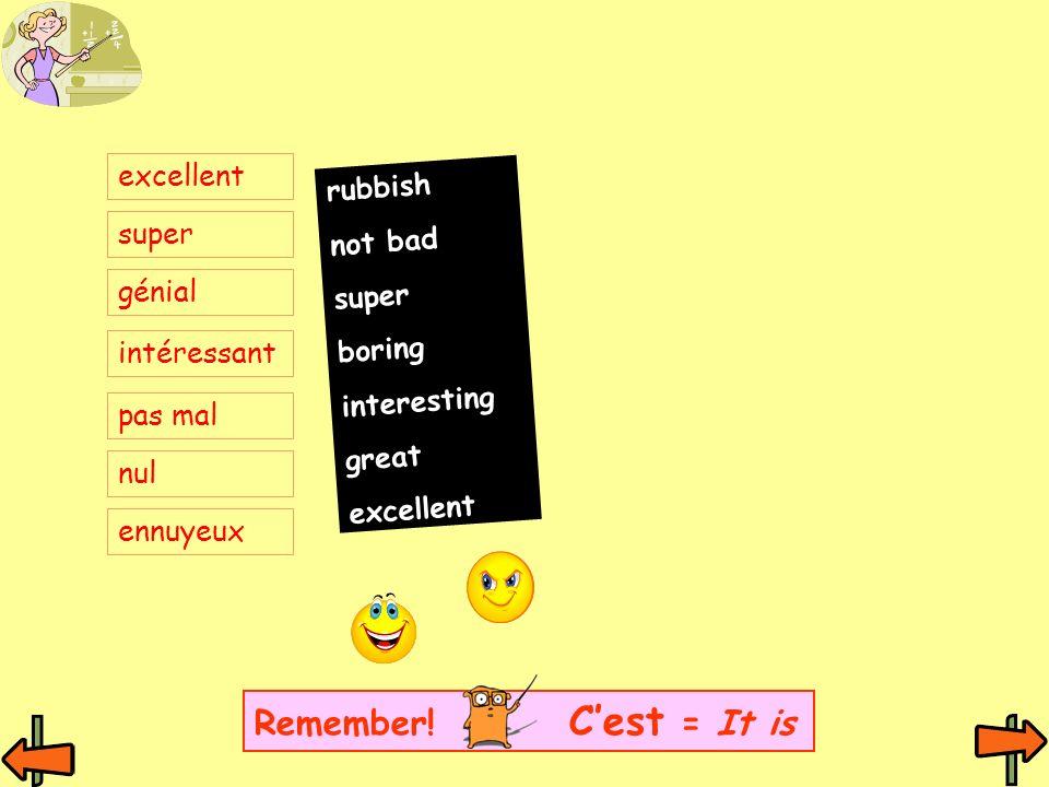 excellent super génial intéressant pas mal nul ennuyeux rubbish not bad super boring interesting great excellent Remember! Cest = It is