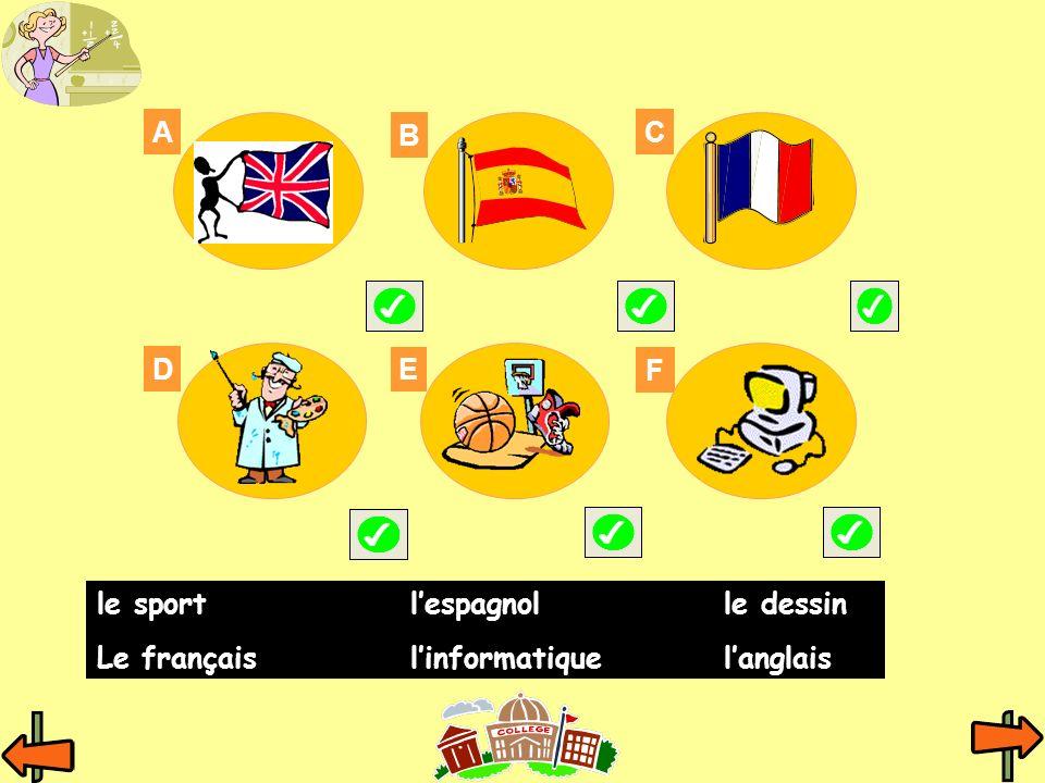 A B C E D F le sportlespagnolle dessin Le françaislinformatiquelanglais