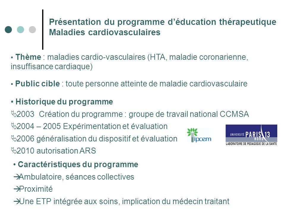 Présentation du programme déducation thérapeutique Maladies cardiovasculaires Thème : maladies cardio-vasculaires (HTA, maladie coronarienne, insuffis