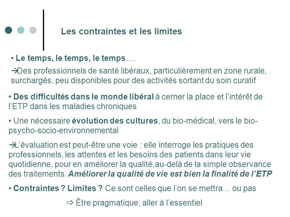 Les contraintes et les limites Le temps, le temps, le temps…. Des professionnels de santé libéraux, particulièrement en zone rurale, surchargés, peu d