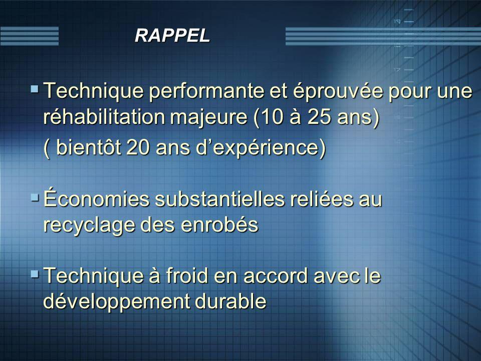 RAPPEL Technique performante et éprouvée pour une réhabilitation majeure (10 à 25 ans) Technique performante et éprouvée pour une réhabilitation majeu