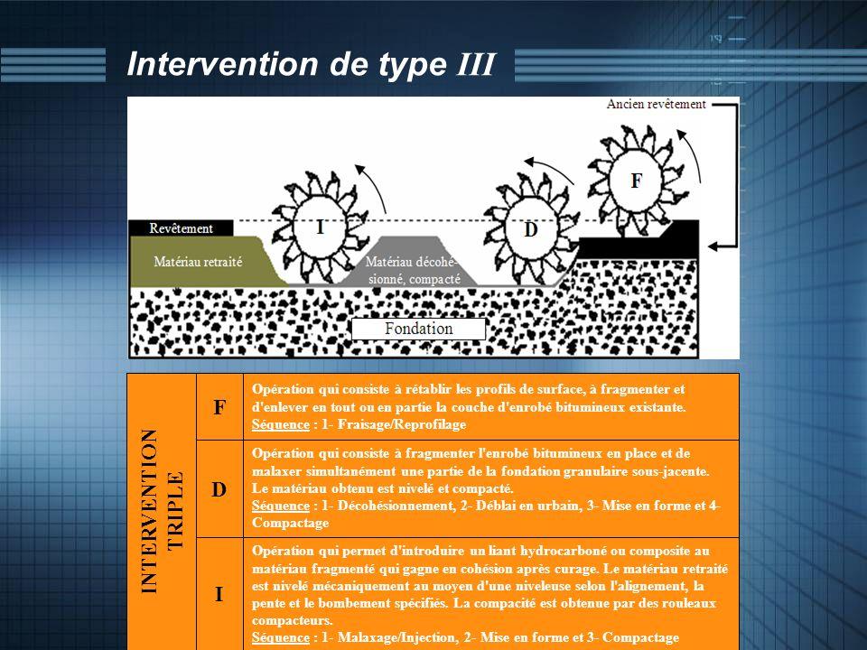 Intervention de type III Opération qui consiste à fragmenter l'enrobé bitumineux en place et de malaxer simultanément une partie de la fondation granu
