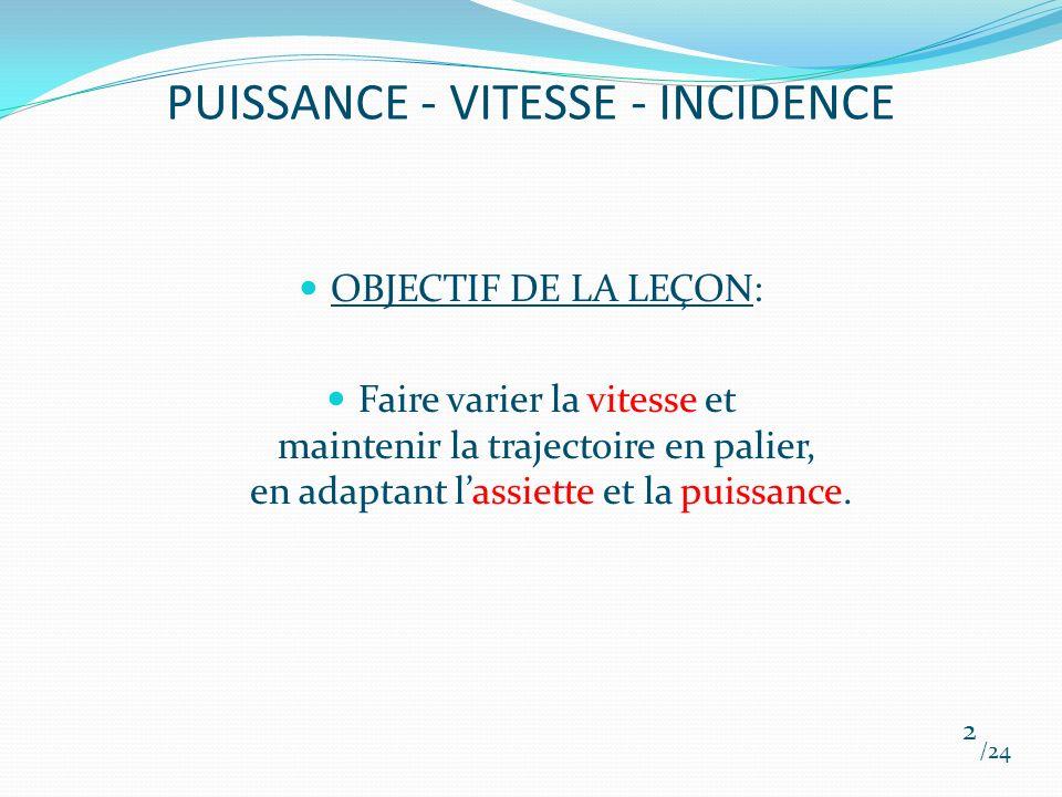 PUISSANCE - VITESSE - INCIDENCE OBJECTIF DE LA LEÇON: Faire varier la vitesse et maintenir la trajectoire en palier, en adaptant lassiette et la puiss