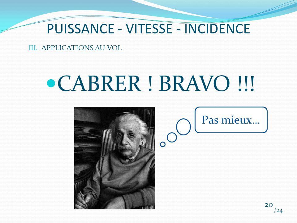 PUISSANCE - VITESSE - INCIDENCE CABRER ! BRAVO !!! /24 20 III.APPLICATIONS AU VOL Pas mieux...