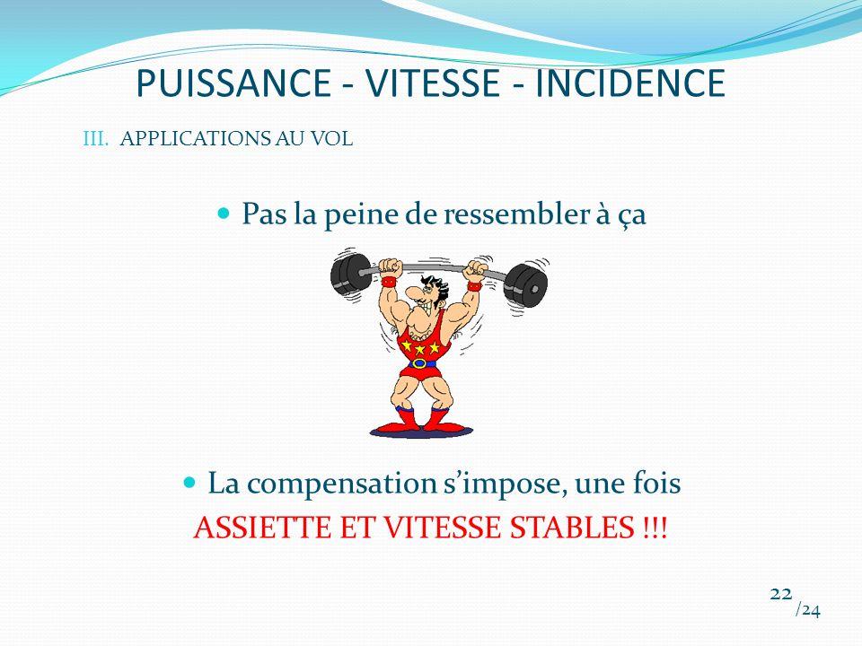 PUISSANCE - VITESSE - INCIDENCE Pas la peine de ressembler à ça La compensation simpose, une fois ASSIETTE ET VITESSE STABLES !!! /24 22 III.APPLICATI