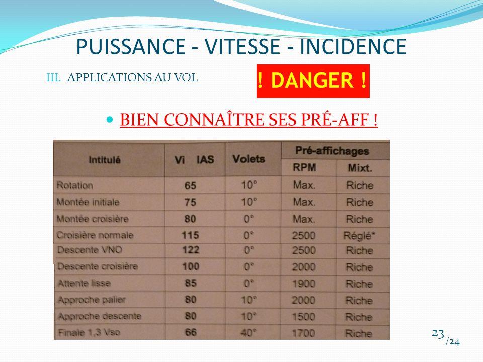 PUISSANCE - VITESSE - INCIDENCE BIEN CONNAÎTRE SES PRÉ-AFF ! /24 23 III.APPLICATIONS AU VOL