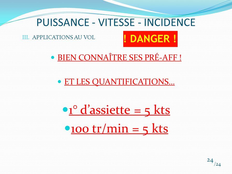 PUISSANCE - VITESSE - INCIDENCE BIEN CONNAÎTRE SES PRÉ-AFF ! ET LES QUANTIFICATIONS… 1° dassiette = 5 kts 100 tr/min = 5 kts /24 24 III.APPLICATIONS A