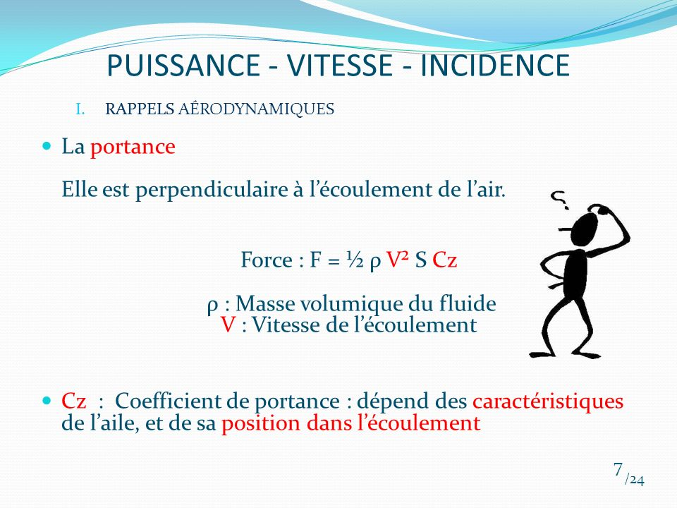 PUISSANCE - VITESSE - INCIDENCE /24 18 III.APPLICATIONS AU VOL Si on veut maintenir le palier, à vitesse plus faible : augmenter lincidence !