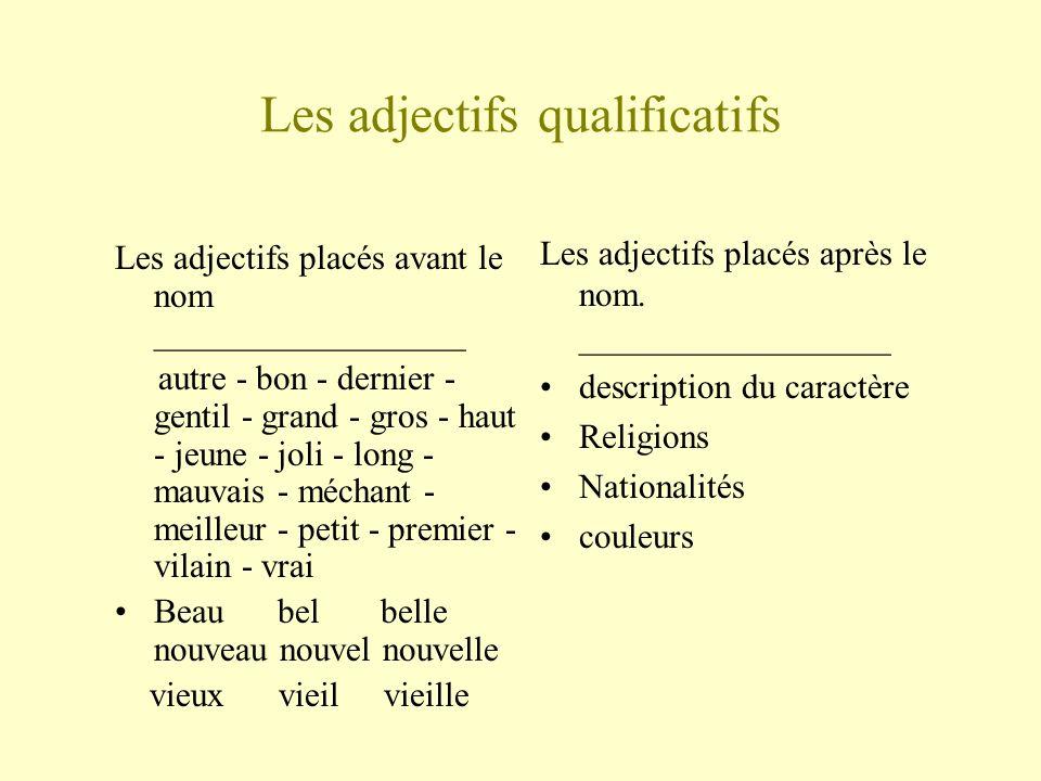 Les adjectifs qualificatifs Les adjectifs placés avant le nom __________________ autre - bon - dernier - gentil - grand - gros - haut - jeune - joli -