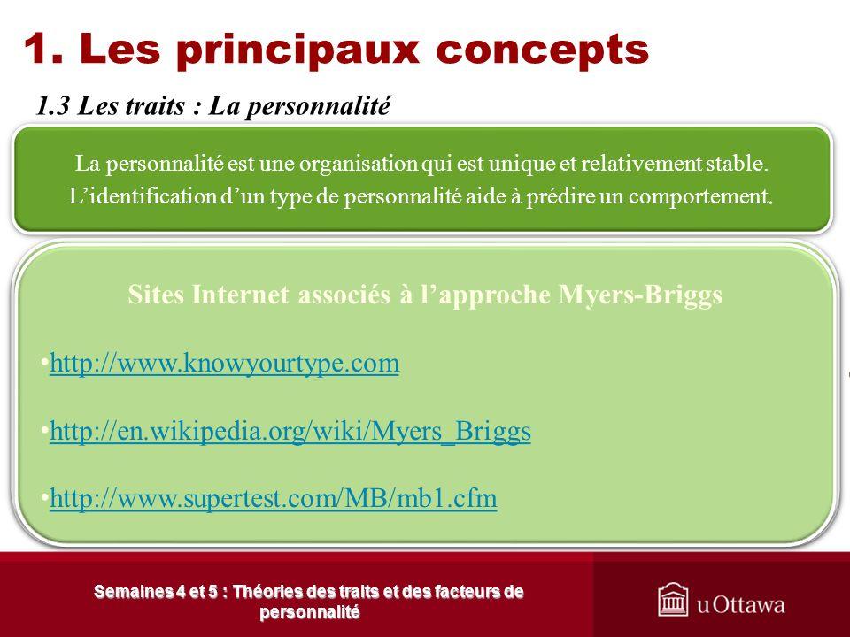 1. Les principaux concepts 1.3 Les traits Semaines 4 et 5 : Théories des traits et des facteurs de personnalité Valeurs et travail