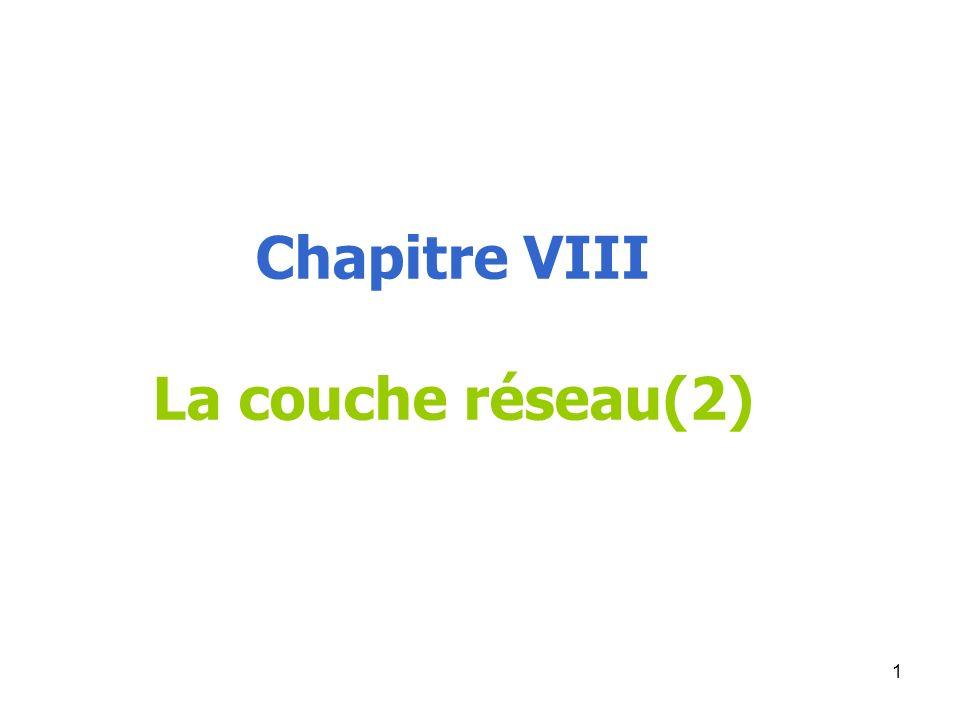 Chapitre VIII La couche réseau(2) 1