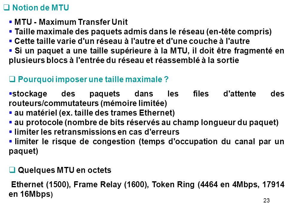 Notion de MTU MTU - Maximum Transfer Unit Taille maximale des paquets admis dans le réseau (en-tête compris) Cette taille varie d un réseau à l autre et d une couche à l autre Si un paquet a une taille supérieure à la MTU, il doit être fragmenté en plusieurs blocs à l entrée du réseau et réassemblé à la sortie Pourquoi imposer une taille maximale .