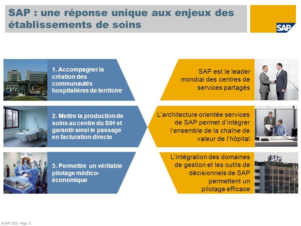 SAP : une réponse unique aux enjeux des établissements de soins SAP est le leader mondial des centres de services partagés 1. Accompagner la création