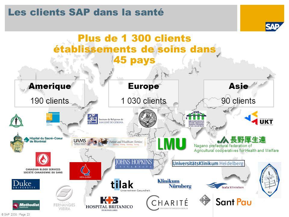 Europe 1 030 clients Amerique 190 clients Asie 90 clients Les clients SAP dans la santé Plus de 1 300 clients établissements de soins dans 45 pays Nag