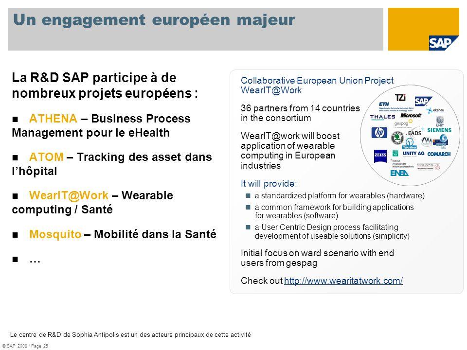 Un engagement européen majeur La R&D SAP participe à de nombreux projets européens : ATHENA – Business Process Management pour le eHealth ATOM – Track