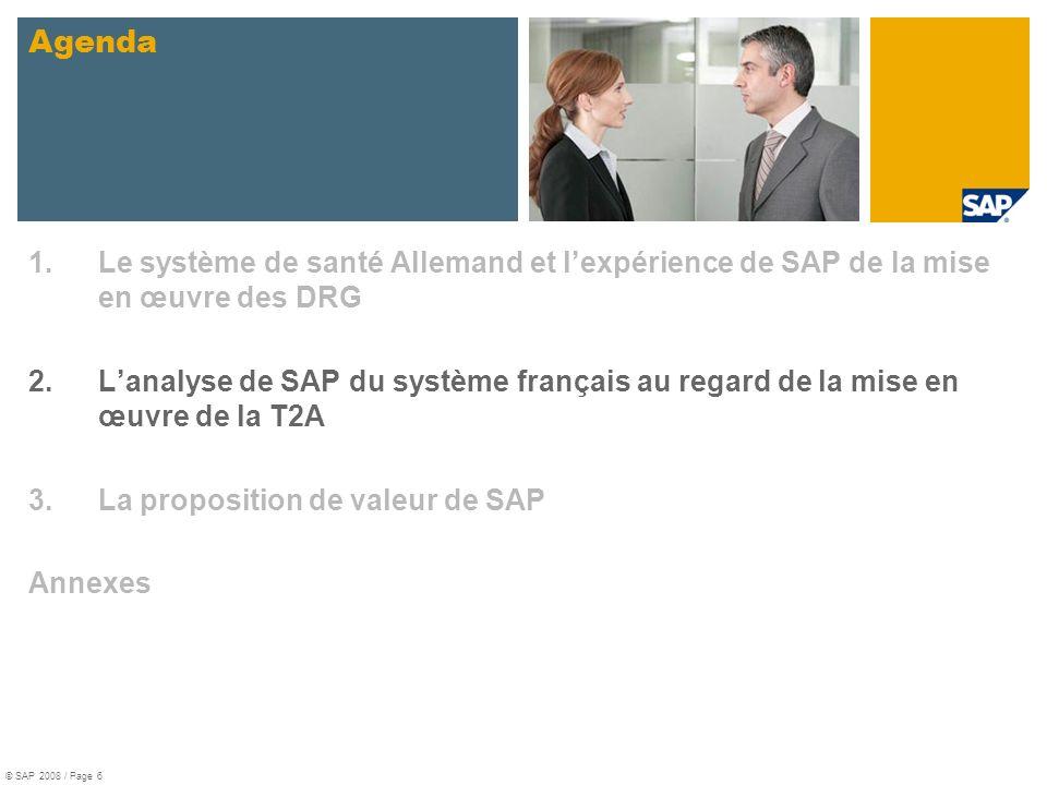 1.Le système de santé Allemand et lexpérience de SAP de la mise en œuvre des DRG 2.Lanalyse de SAP du système français au regard de la mise en œuvre d