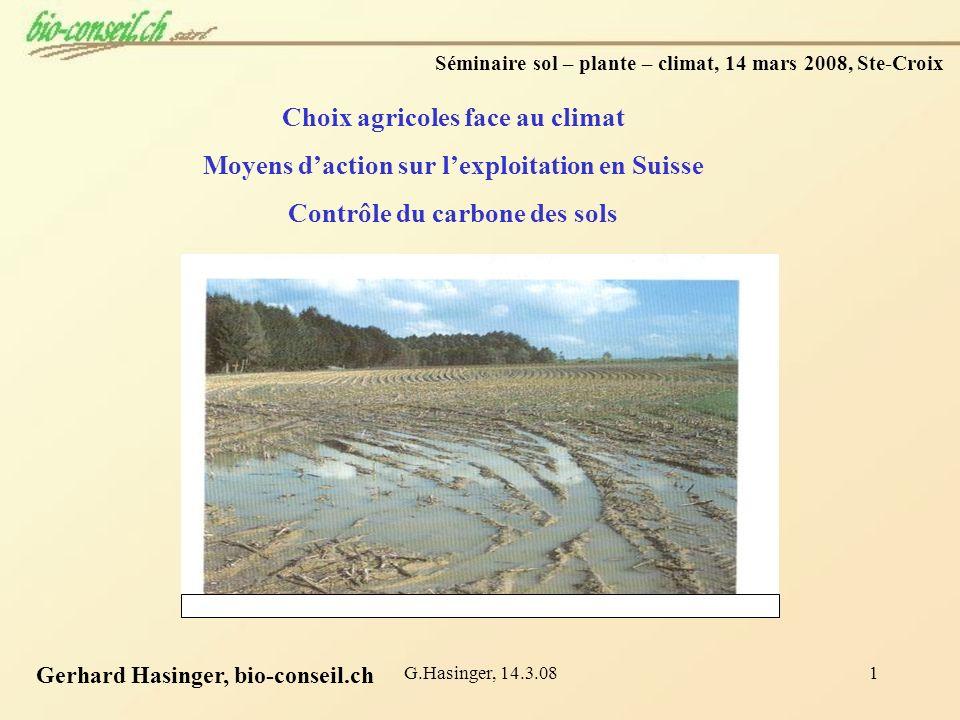 G.Hasinger, 14.3.081 Séminaire sol – plante – climat, 14 mars 2008, Ste-Croix Choix agricoles face au climat Moyens daction sur lexploitation en Suiss