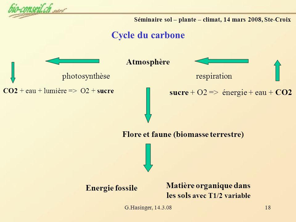 G.Hasinger, 14.3.0818 sucre + O2 => énergie + eau + CO2 photosynthèserespiration Cycle du carbone Flore et faune (biomasse terrestre) Energie fossile