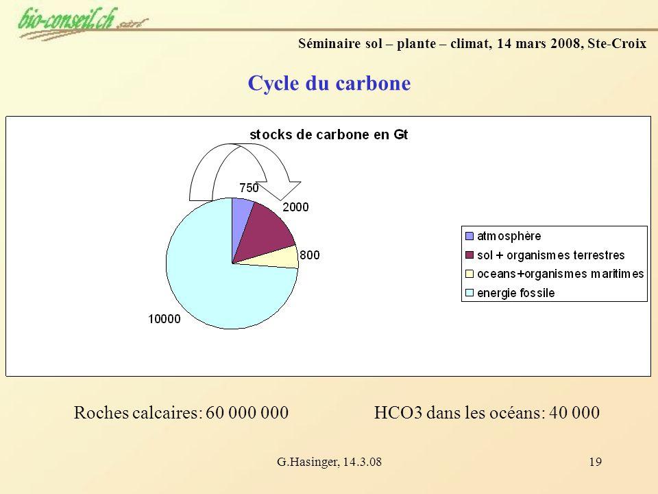 G.Hasinger, 14.3.0819 Cycle du carbone Séminaire sol – plante – climat, 14 mars 2008, Ste-Croix Roches calcaires: 60 000 000HCO3 dans les océans: 40 0