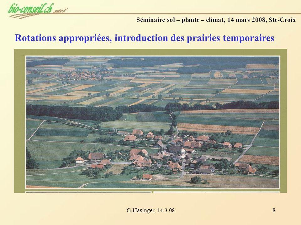 G.Hasinger, 14.3.088 Rotations appropriées, introduction des prairies temporaires Séminaire sol – plante – climat, 14 mars 2008, Ste-Croix