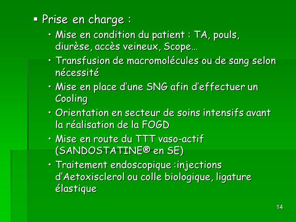 14 Prise en charge : Prise en charge : Mise en condition du patient : TA, pouls, diurèse, accès veineux, Scope…Mise en condition du patient : TA, poul