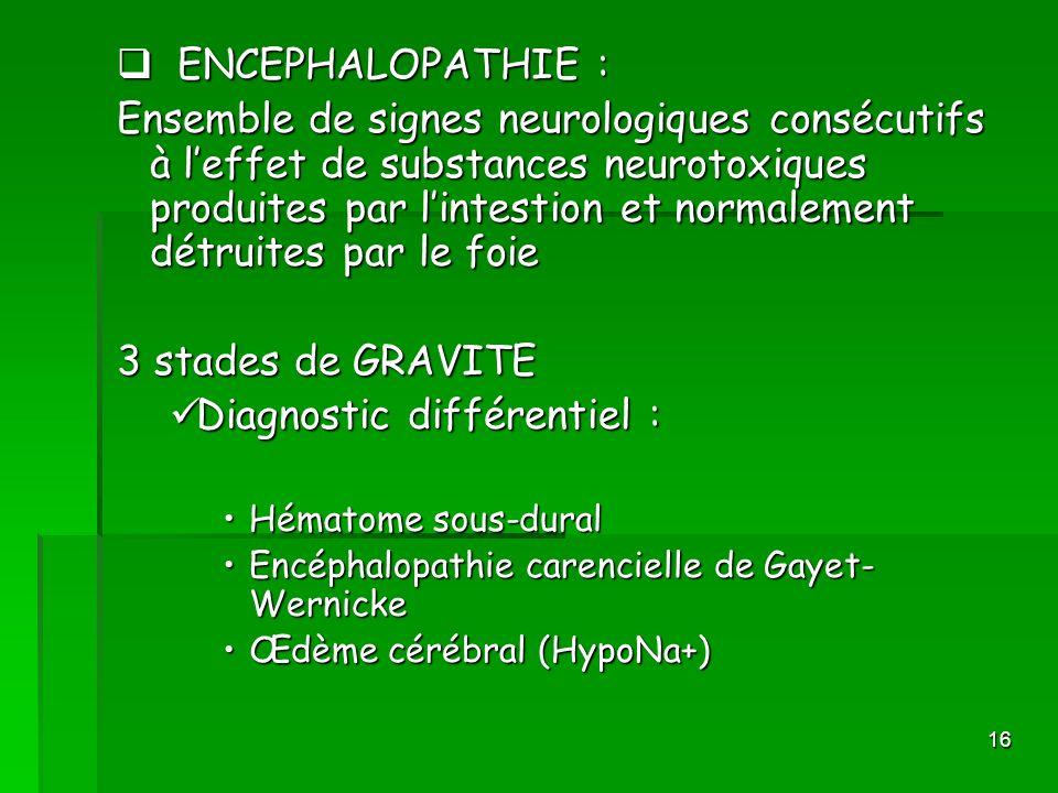 16 ENCEPHALOPATHIE : ENCEPHALOPATHIE : Ensemble de signes neurologiques consécutifs à leffet de substances neurotoxiques produites par lintestion et n