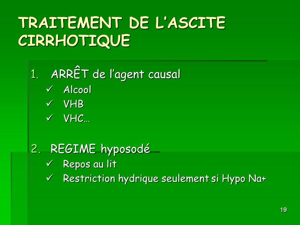 19 TRAITEMENT DE LASCITE CIRRHOTIQUE 1.ARRÊT de lagent causal Alcool Alcool VHB VHB VHC… VHC… 2.REGIME hyposodé Repos au lit Repos au lit Restriction
