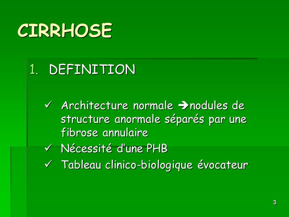 3 CIRRHOSE 1.DEFINITION Architecture normale nodules de structure anormale séparés par une fibrose annulaire Architecture normale nodules de structure