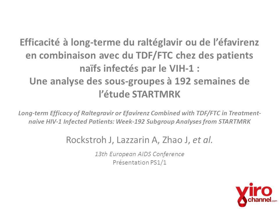 STARTMRK : Distribution des patients à la semaine 192 et méthodologie Patients inscris à létude randomisés 1:1 au RAL (2 fois/jour) ou à lEFV 223 patients (79%) ont complété les 192 semaines 197 patients (70%) ont complété les 192 semaines 58 patients (21%) D/C 5 – manque defficacité 13 – effets secondaires 8 – perte de suivi 85 patients (30%) D/C 8 – manque defficacité 26 – effets secondaires 17 – perte de suivi 281 patients traités avec le RAL 282 traités avec lEFV RAL = raltégravir EFV = éfavirenz D/C = discontinué Étude de non infériorité, randomisée (1:1) à double insu Critère dévaluation primaire à 48 semaines Administré avec du TDF/FTC Présenté par J.