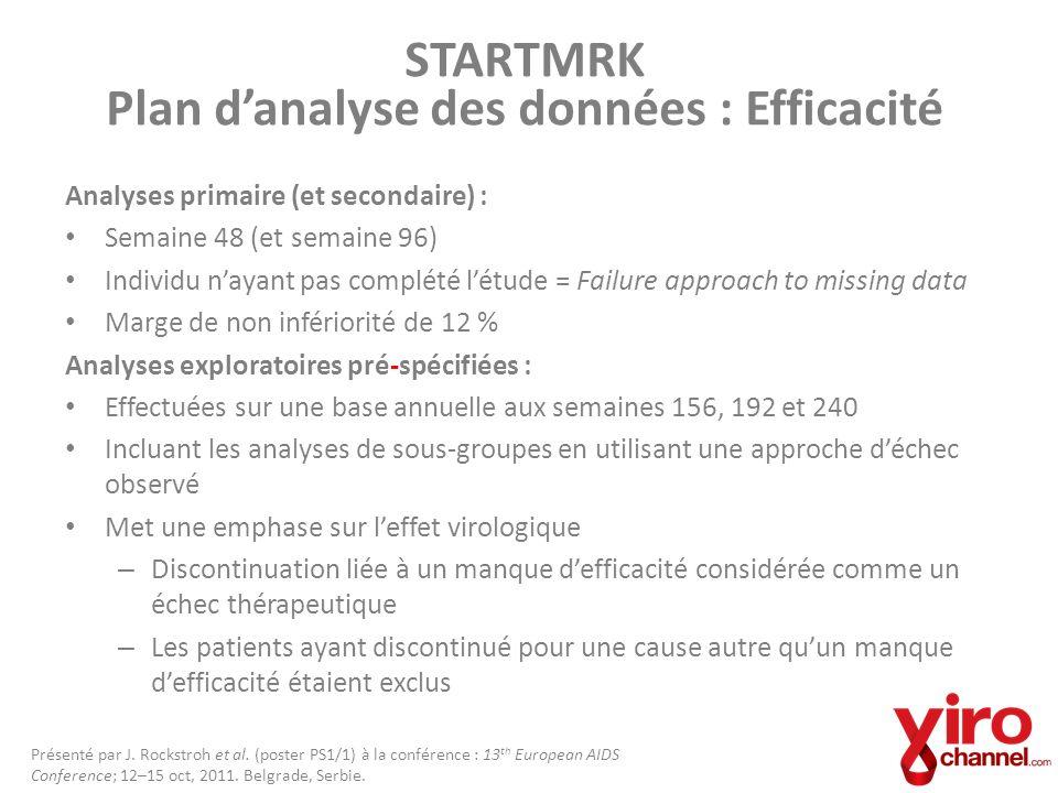 STARTMRK Plan danalyse des données : Efficacité Analyses primaire (et secondaire) : Semaine 48 (et semaine 96) Individu nayant pas complété létude = F
