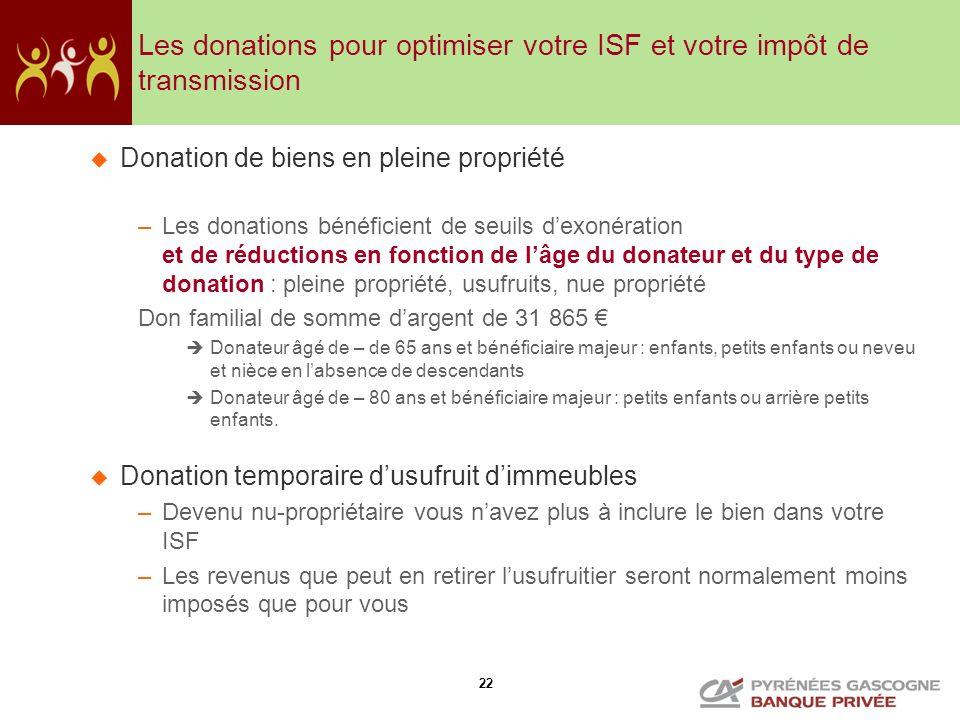 22 Les donations pour optimiser votre ISF et votre impôt de transmission Donation de biens en pleine propriété –Les donations bénéficient de seuils de