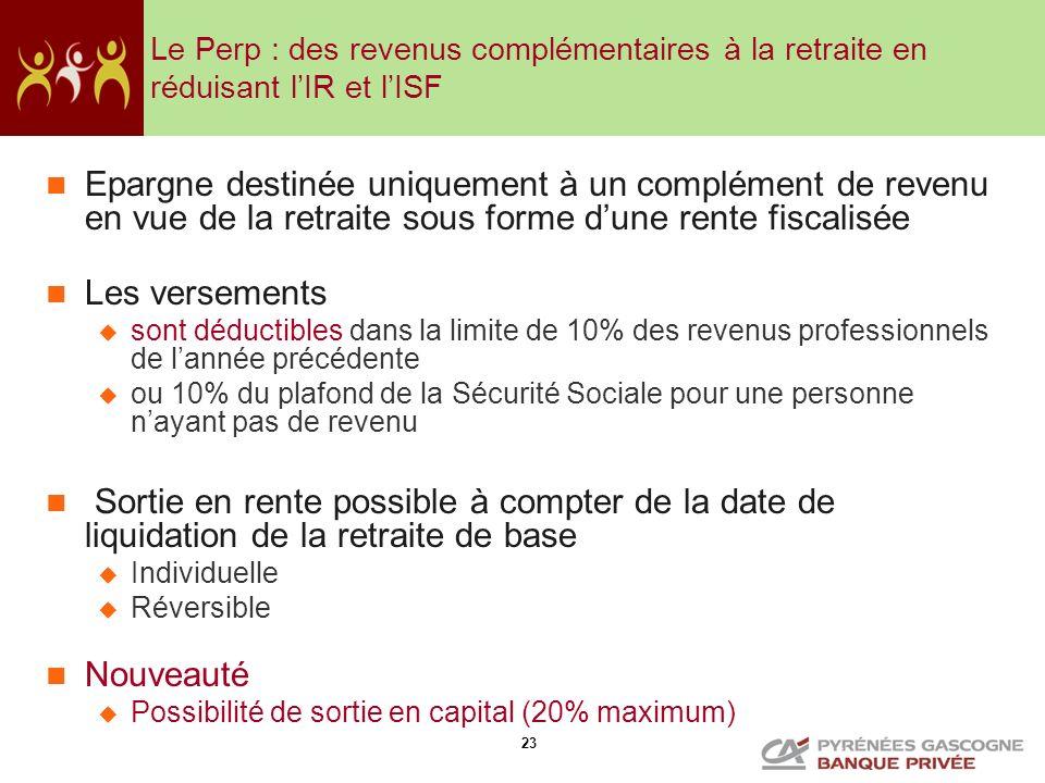 23 Le Perp : des revenus complémentaires à la retraite en réduisant lIR et lISF Epargne destinée uniquement à un complément de revenu en vue de la ret